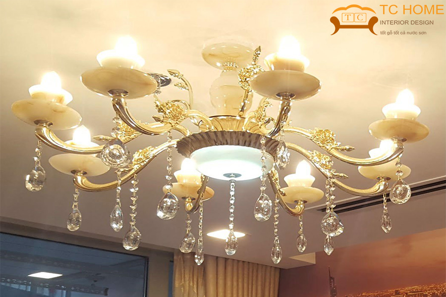 đèn led chùm trang trí phòng khách HCM