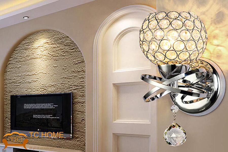 trang trí phòng khách bằng đèn led treo tường
