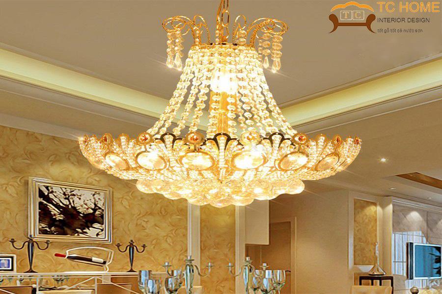 đèn chùm pha lê vàng trang trí phòng khách hcm