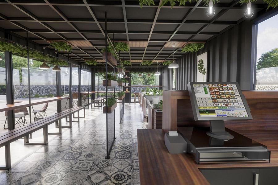 thiết kế quán cafe khung thép