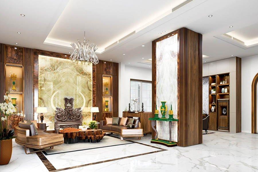 trang trí phòng khách biệt thự phong cách cổ điển