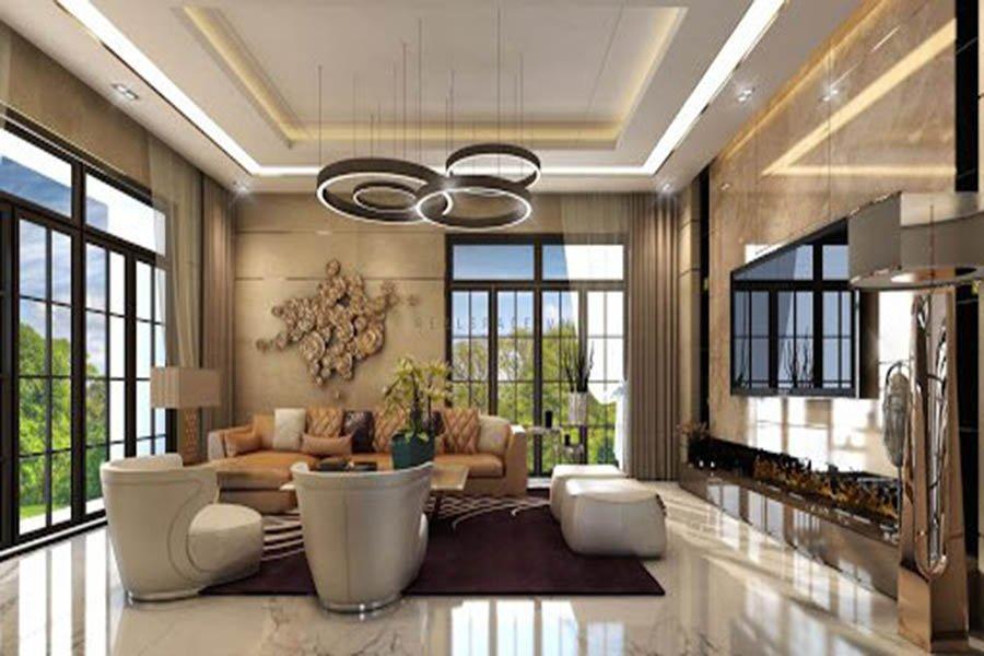trang trí nội thất phòng khách biệt thự hiện đại sang trọng