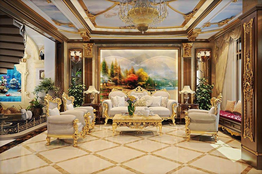 trang trí phòng khách biệt thự sang trọng