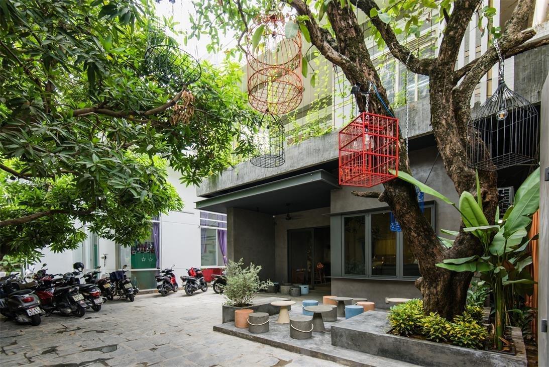 thiết kế thi công quán cafe cây xanh 65m2