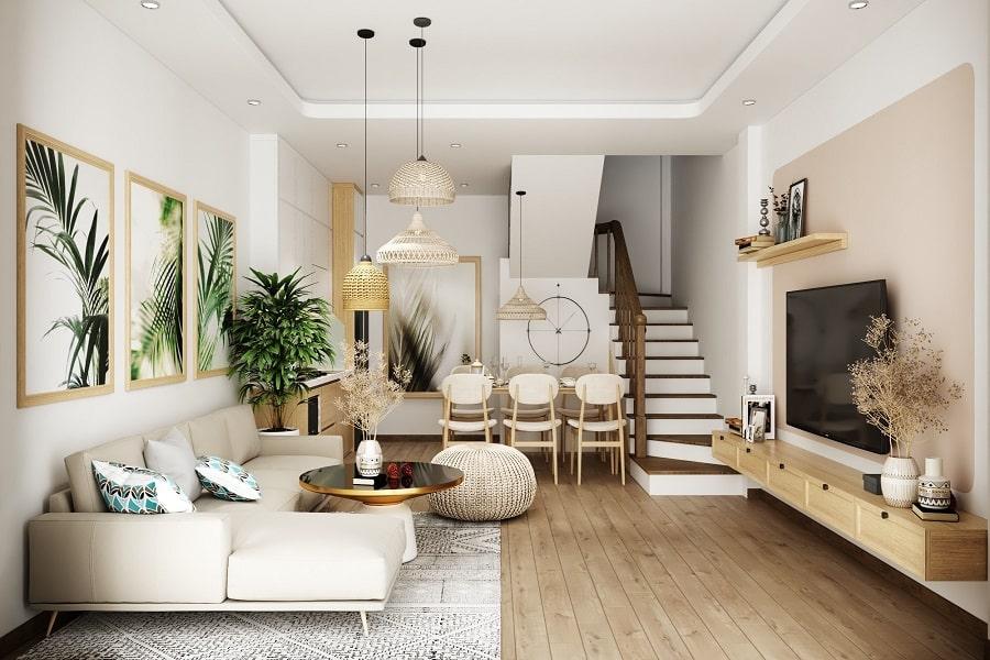 nội thất phòng khách nhà phố đẹp hiện đại