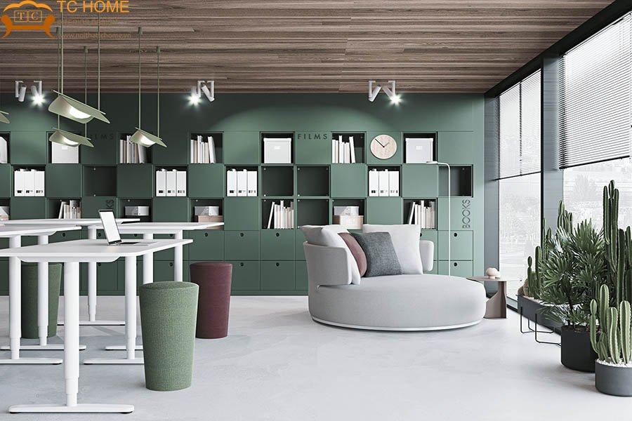 thiết-kế-văn-phòng-màu-xanh